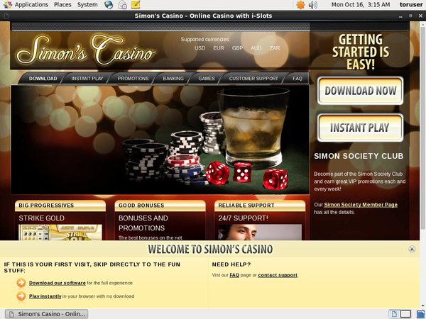 Simon Says Casino With Gift Card