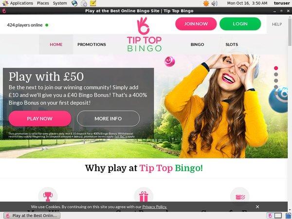 Tip Top Bingo Jcb Card