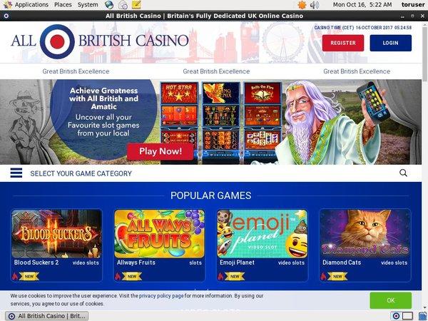 Register For All British Casino