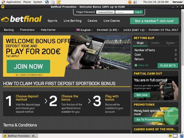 Betfinal Sports Matched Bet