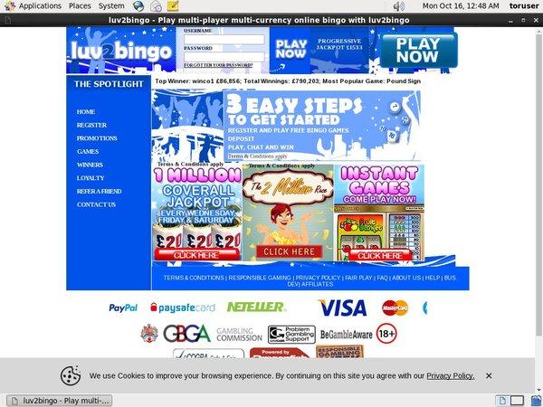 Luv2bingo Online Casino Paypal