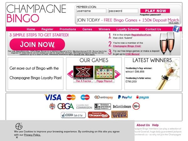 Champagne Bingo Entro Pay