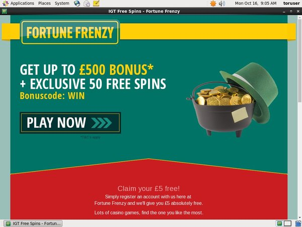 Fortune Frenzy New Account Offer
