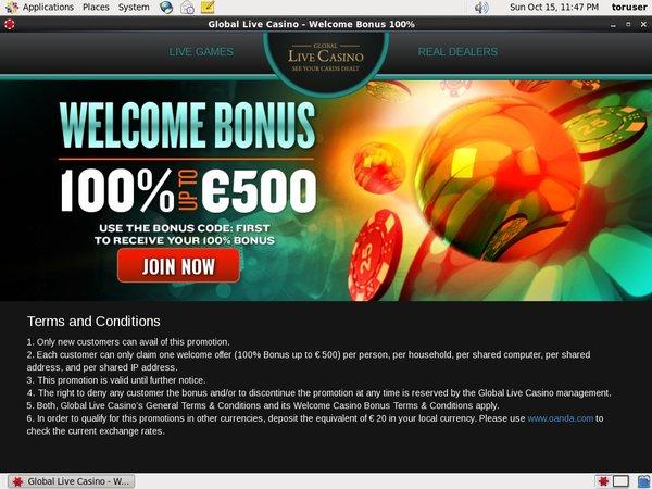 Globallivecasino Poker Paypal