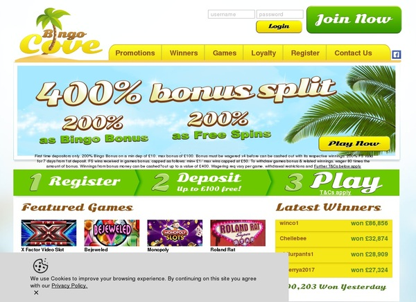 Bingocove New Account Offer